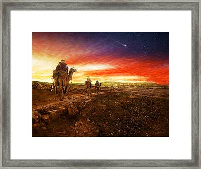 Bible - Wise Men - The Magi Arrive 1920 Framed Print by Mike Savad