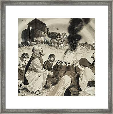 Biblical Scene Depicting Noah's Ark Framed Print by Clive Uptton