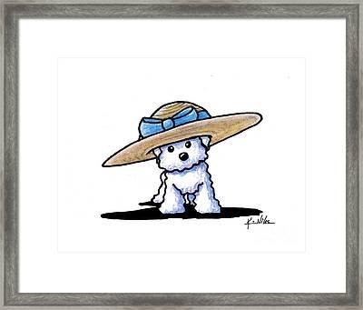 Bichon In Hat Framed Print by Kim Niles
