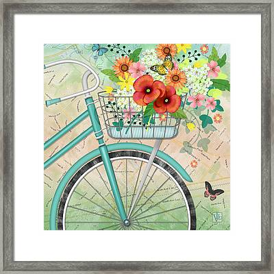 Bicycle Bouqet Framed Print by Valerie Drake Lesiak