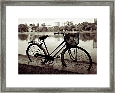 Bicycle By The Lake Framed Print by Dave Bowman