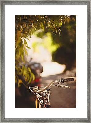 Bicycle In Bozca Island. Framed Print by Ilker Goksen