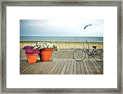 Bicycle On The Ocean City New Jersey Boardwalk. Framed Print by Melissa Ross