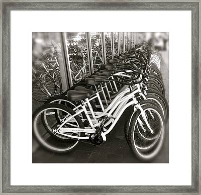 Bicycles In Belmont Shore Framed Print by Gwyn Newcombe