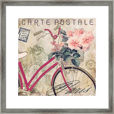 Bicycling In Paris II Framed Print by Mindy Sommers