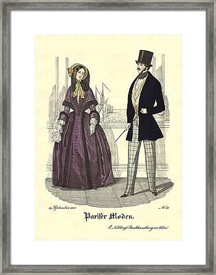 Biedermeier Fashion Framed Print by Village Antiques