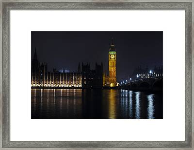 Big Ben At Night Framed Print by Andrew Soundarajan