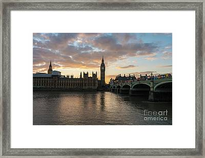 Big Ben London Sunset Framed Print by Mike Reid
