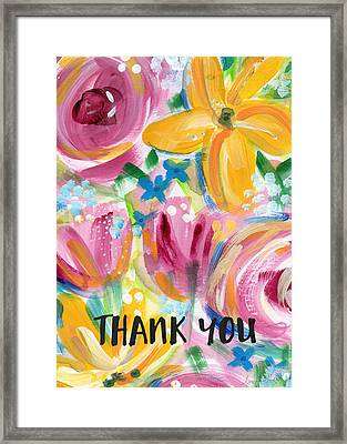 Big Colorful Flowers Thank You Card- Art By Linda Woods Framed Print by Linda Woods