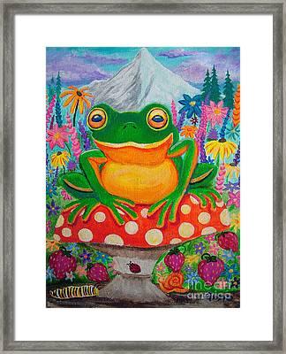 Big Green Frog On Red Mushroom Framed Print by Nick Gustafson
