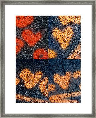 Big Hearts Spray Paint Framed Print by Boy Sees Hearts