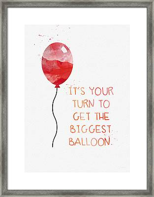 Biggest Balloon- Card Framed Print by Linda Woods