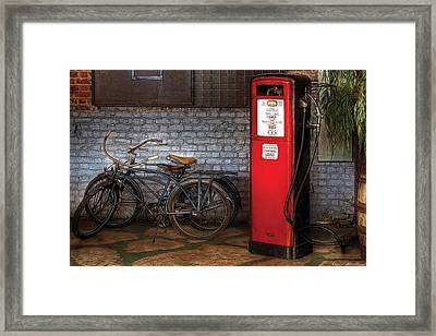 Bike - Two Bikes And A Gas Pump Framed Print by Mike Savad