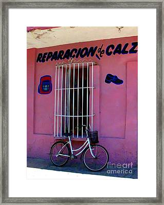 Bike At The Shoe Shop By Darian Day Framed Print by Mexicolors Art Photography