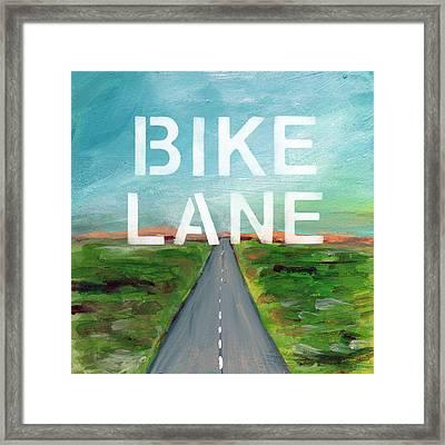 Bike Lane- Art By Linda Woods Framed Print by Linda Woods