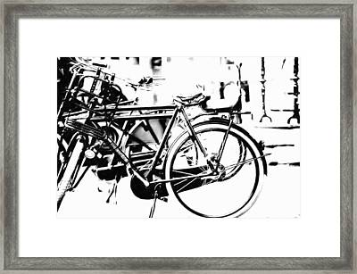 Bike On Amsterdam Street Framed Print by Jenny Rainbow