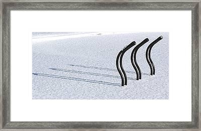Bike Racks In Snow Framed Print by Steve Somerville