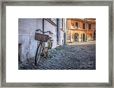 Bike With Basket On Streets Of Rome Framed Print by Edward Fielding