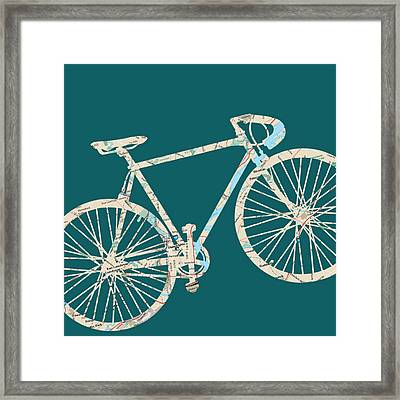Bike With Philly Map Framed Print by Brandi Fitzgerald
