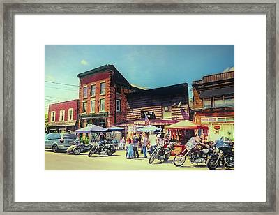 Bikes And Brews A Vintage Postcard Framed Print by David Patterson