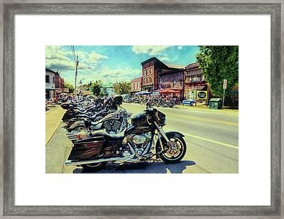 Bikes And Brews - Vintage Postcard Framed Print by David Patterson