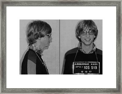 Bill Gates Mug Shot Horizontal Black And White Framed Print by Tony Rubino