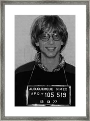 Bill Gates Mug Shot Vertical Black And White Framed Print by Tony Rubino