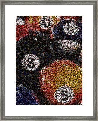 Billiard Ball Bottle Cap Mosaic Framed Print by Paul Van Scott