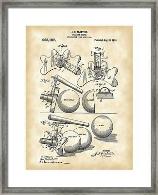 Billiard Bridge Patent 1910 - Vintage Framed Print by Stephen Younts