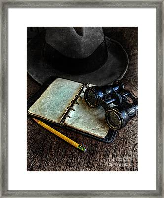 Binoculars Fedora And Notebook Framed Print by Jill Battaglia