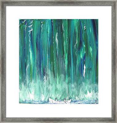 Birch Canoe At Waterfall Framed Print by Gary Smith