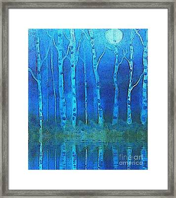 Birches In Moonlight Framed Print by Holly Martinson