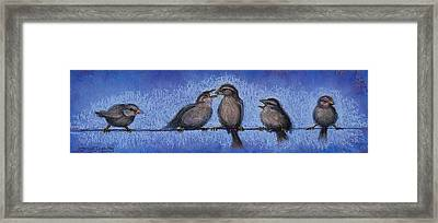 Bird Babies On A Wire Framed Print by Susan Jenkins