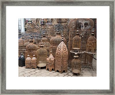 Bird Cages For Sale In Souk, Marrakesh Framed Print by Panoramic Images