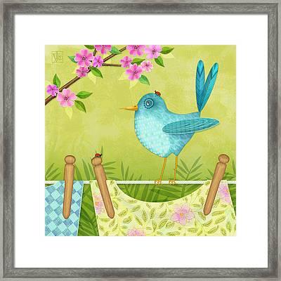 Bird On Clothesline Framed Print by Valerie Drake Lesiak