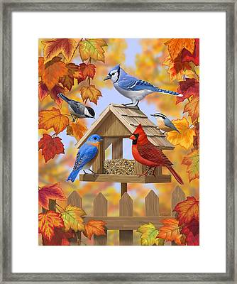 Bird Painting - Autumn Aquaintances Framed Print by Crista Forest