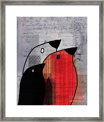 Birdies Red - J100129091 Framed Print by Variance Collections