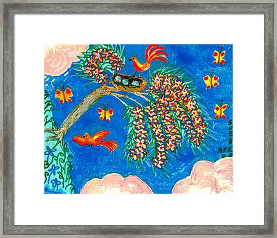 Birds And Nest In Flowering Tree Framed Print by Sushila Burgess