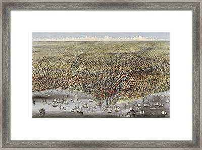 Bird's Eye View Of Chicago, Illinois From Above Lake Michigan, Circa 1874 Framed Print by Currier and Ives