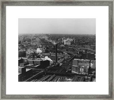 Bird's Eye View Of Chicago Terminal Yard Throat  Framed Print by Chicago and North Western Historical Society