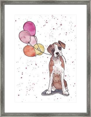 Birthday Boxer Framed Print by Katrina Davis