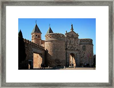 Bisagra Gate Toledo Spain Framed Print by Joan Carroll
