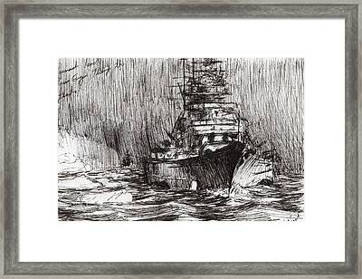 Bismarck Off Greenland Framed Print by Vincent Alexander Booth