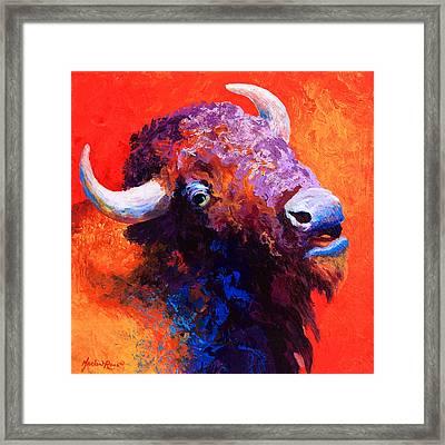 Bison Attitude Framed Print by Marion Rose