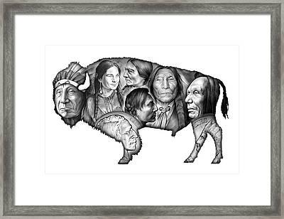 Bison Indian Montage Framed Print by Greg Joens