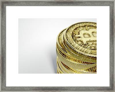 Bitcoin Stack Framed Print by Allan Swart