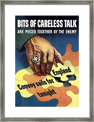 Bits Of Careless Talk Framed Print by War Is Hell Store