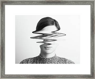 Black And White Abstract Woman Portrait Of Restlessness Concept Framed Print by Radu Bercan