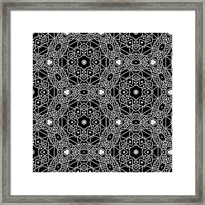 Black And White Boho Pattern 3- Art By Linda Woods Framed Print by Linda Woods