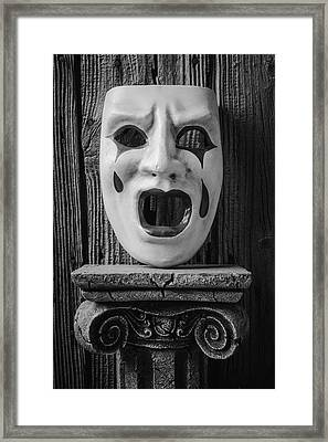 Black And White Crying Mask Framed Print by Garry Gay